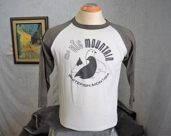 70s L Big Mountain Whitefish Montana Baseball T Shirt Gray/Black White