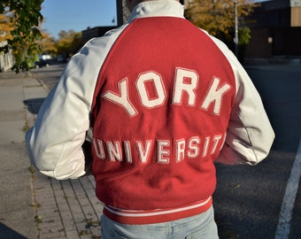 70s L York University Varsity Jacket Dr. Habib Red Wool White Leather