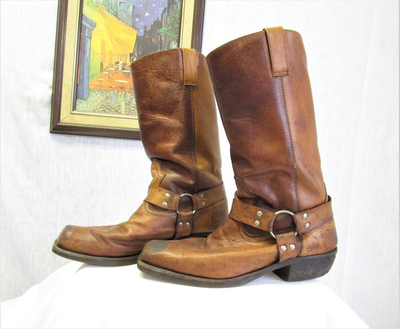 37b26812532b5 70s 9 Snub Toe Men's Leather Harness Motorcycle Boots Distressed Brown