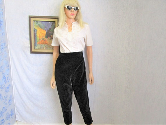 "50s XS 23"" Velveteen Cigarette Capris Pants High W"
