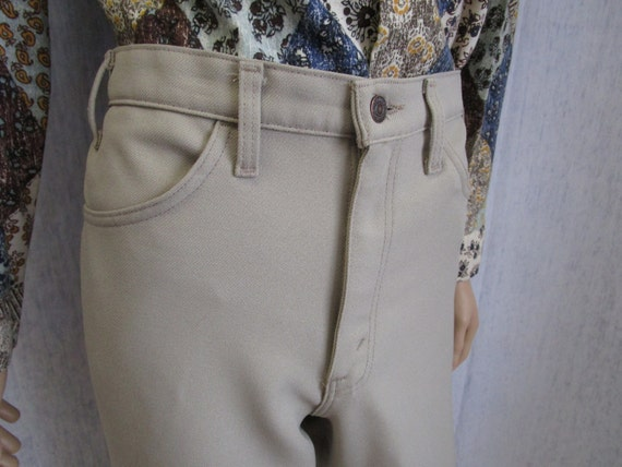 """70s 35"""" x 32"""" Levis Polyester Jeans Mens PANTS Bei"""