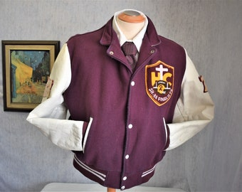 80s 44 L Holy Cross Raiders Football Varsity Jacket Maroon Wool White Leather
