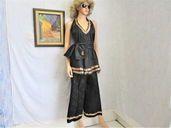 60s XL Pant Suit Palazzo Pants Halter Top Scarf/Sa