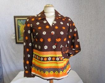 60s M Mod Big Collar Cotton L/S BLOUSE Top Brown Orange Yellow Floral