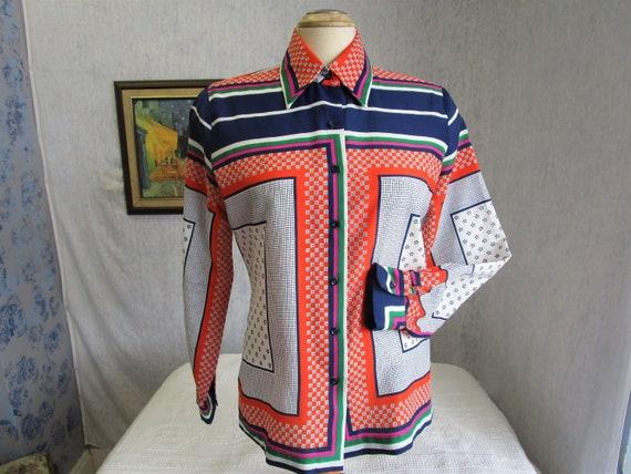60s 14 L Adelaar Big Collar Polyester Blouse Orang