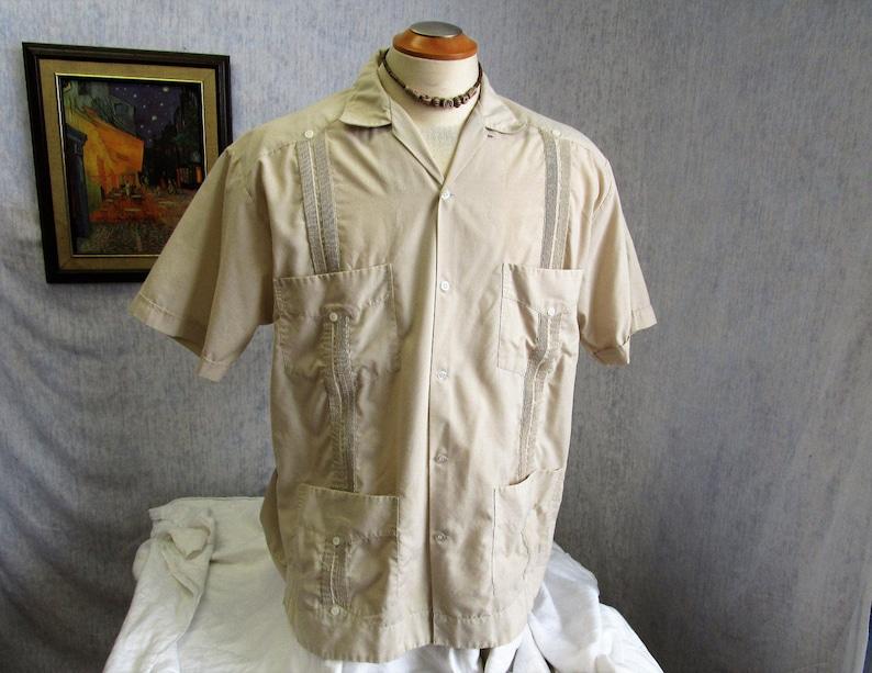 679361a5 80s XXL 44 Yucateca Guayabera Men's S/S Shirt Beige | Etsy