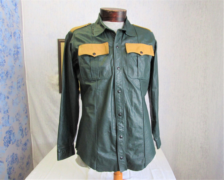 des années 90 L noir barbe vert cuir chemise veste forêt vert barbe Tan  5d72d7 2c029b72fe3