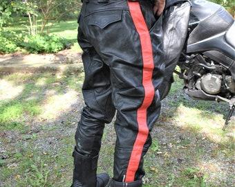 80s 34 x 30 Leather Jodhpurs Biker Motorcycle Pants Black Red Stripe