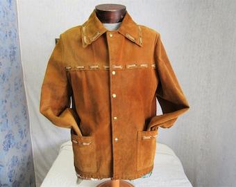 """70s M 40"""" Buckskin Suede Leather Men's Jacket Beige Sear's Men's Store Brown"""