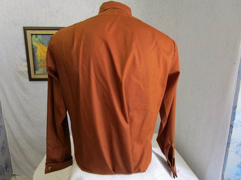60s 15 12 Mr James French Cuff Men/'s Big Collar Shirt Chestnut Brown