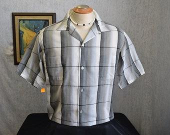 50s L McGregor Loop & Button Mens S/S Shirt Gray Plaid