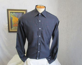 "70s 15 1/2"" Lal's Clothing Men's Big Collar Polyester Shirt Beige Navy Blue Print"