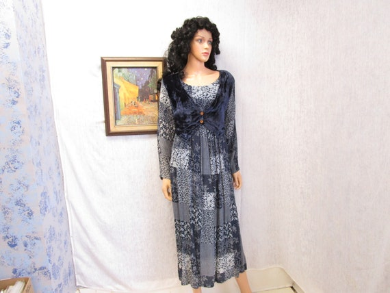 90s L Patchwork Grunge DRESS Navy Blue Gauze & Vel