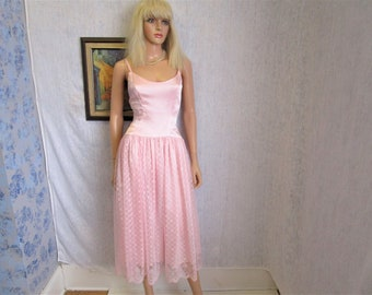 80s M Deadstock Highlite Satin & Lace Prom Tea Length Dress Icy Baby Pink