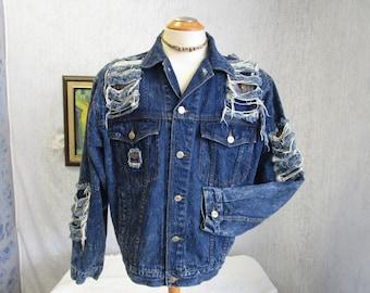 90s L Kozmic Bluez Jean Jacket Distressed Dark Blue Wash