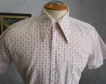 """60s M 15"""" Sir Walter Men's Big Collar S/S Shirt Pink Lion Print"""