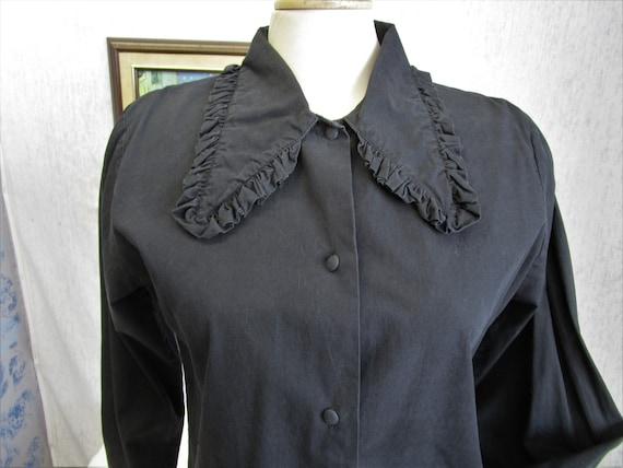 90s S Bedo Big Collar L/S Cotton Blouse Black