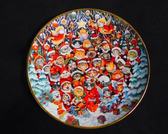 1992 Franklin Mint Porcelain Collectors Plate Santa Claws by Bill Bell ~~ Christmas Cats in Hats