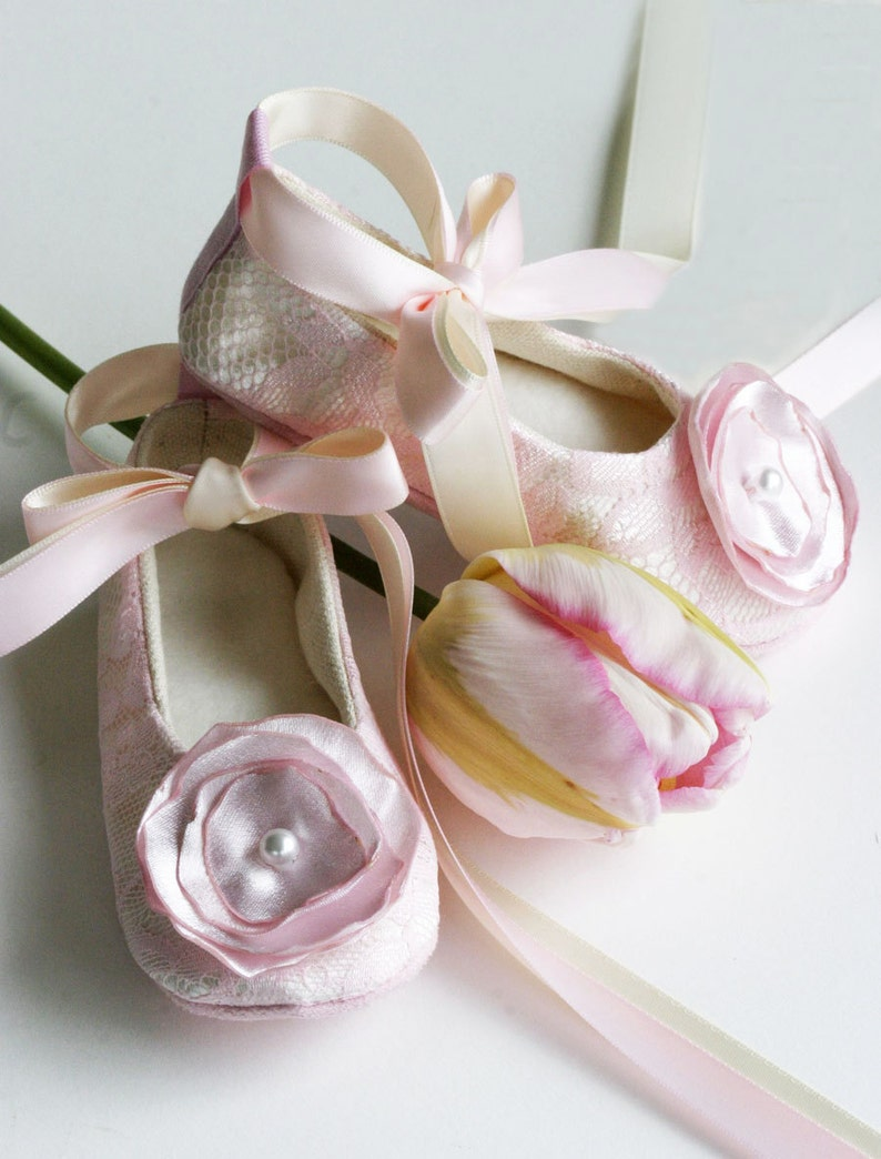 4b5034bc4 Pink Lace Flower Girl Shoes Baby Ballet Slipper Toddler