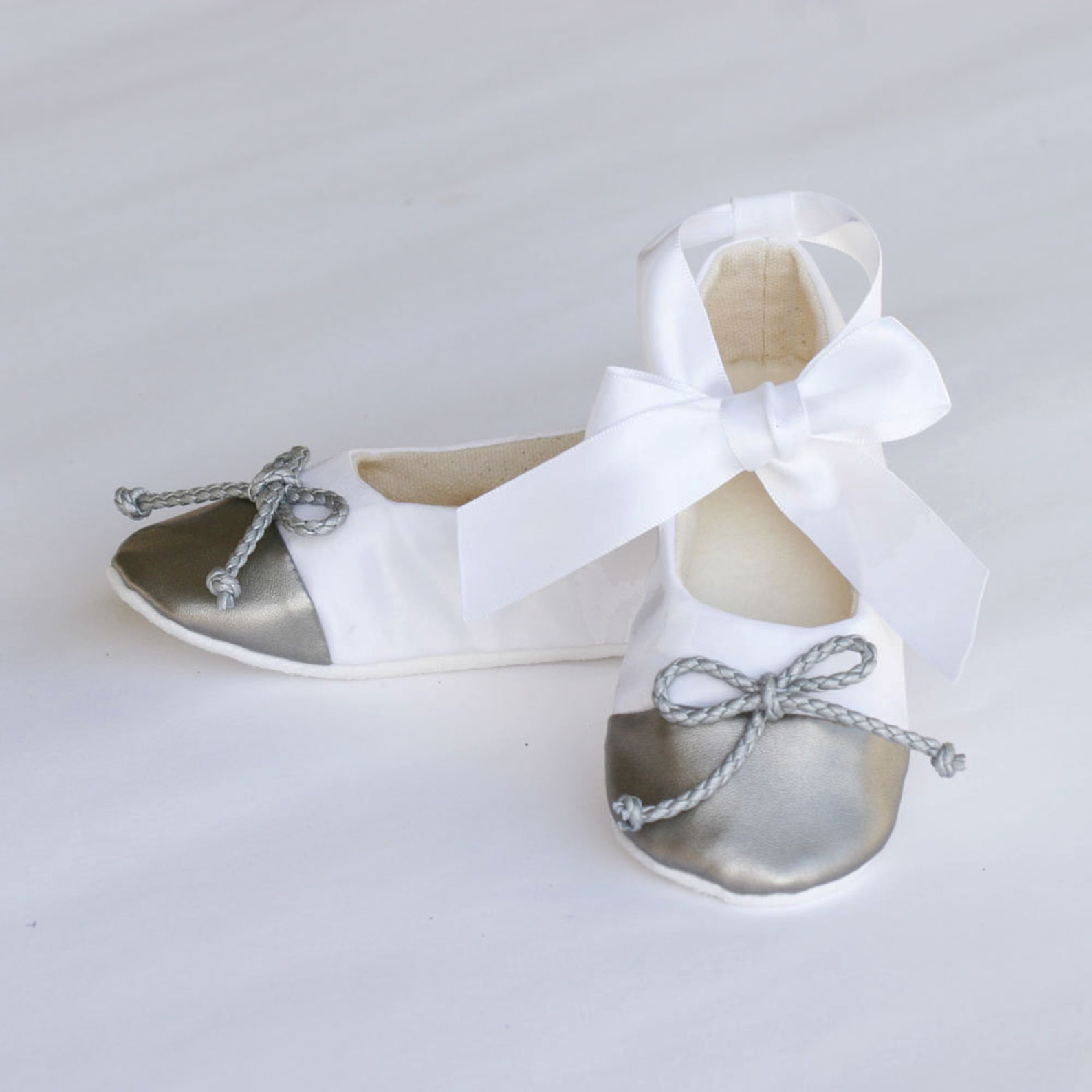 gold and ivory satin flower girl shoe, little girl ballet slipper, ivory baby shoe, toddler ballet flat, ivory gold wedding shoe