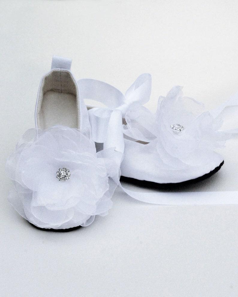 1f803d6f2ff Easter White Baby Shoes Silk Toddler Ballet Slipper Flower