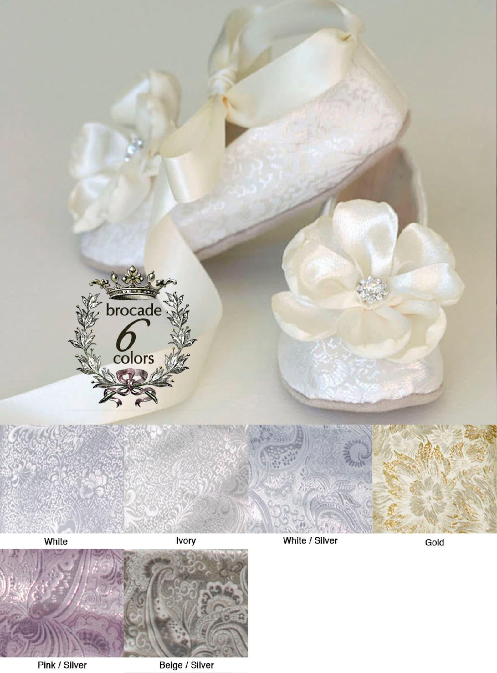 ivory brocade toddler flower girl shoe - flower girl, wedding ballet slipper - ivory, gold, silver, white available - baby souls