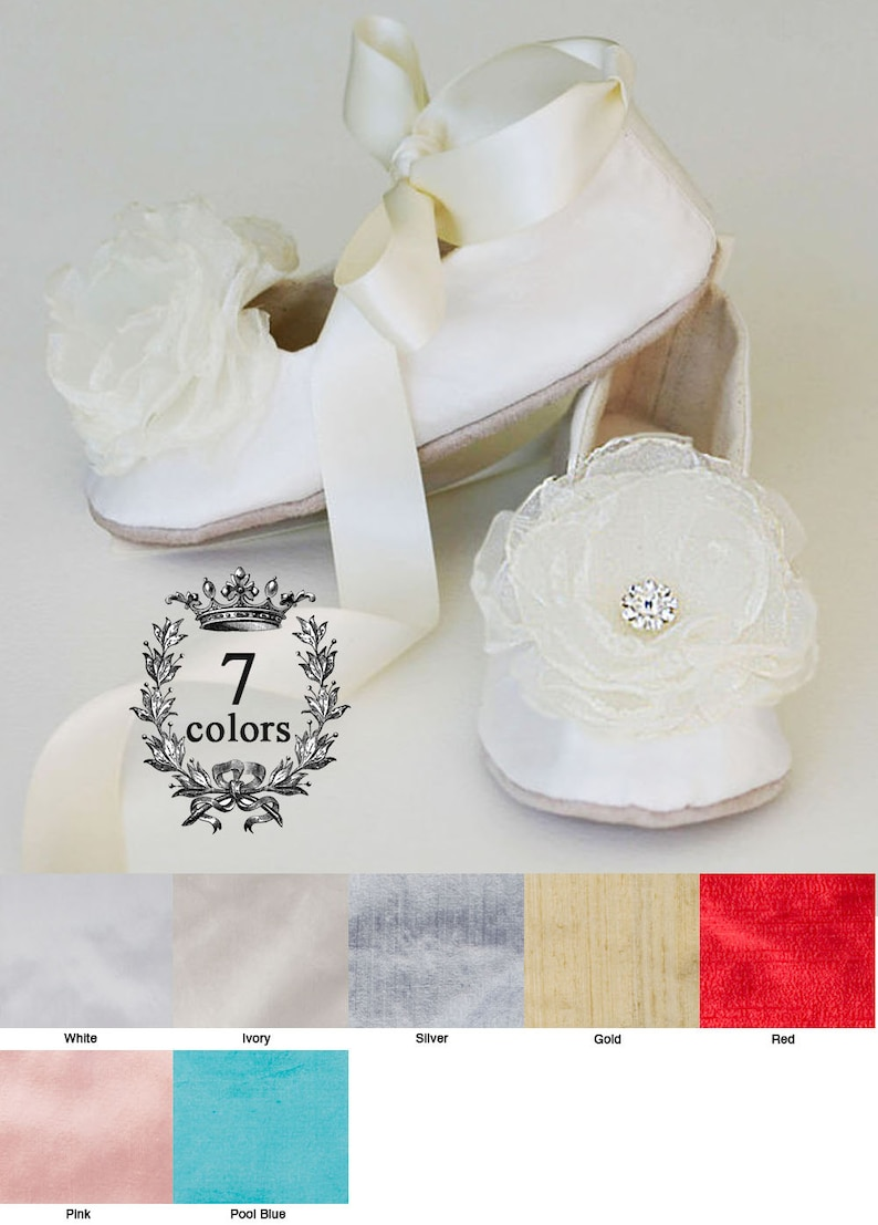 40efba653 Ivory Silk Flower Girl Shoe Baby Christening Shoe Easter