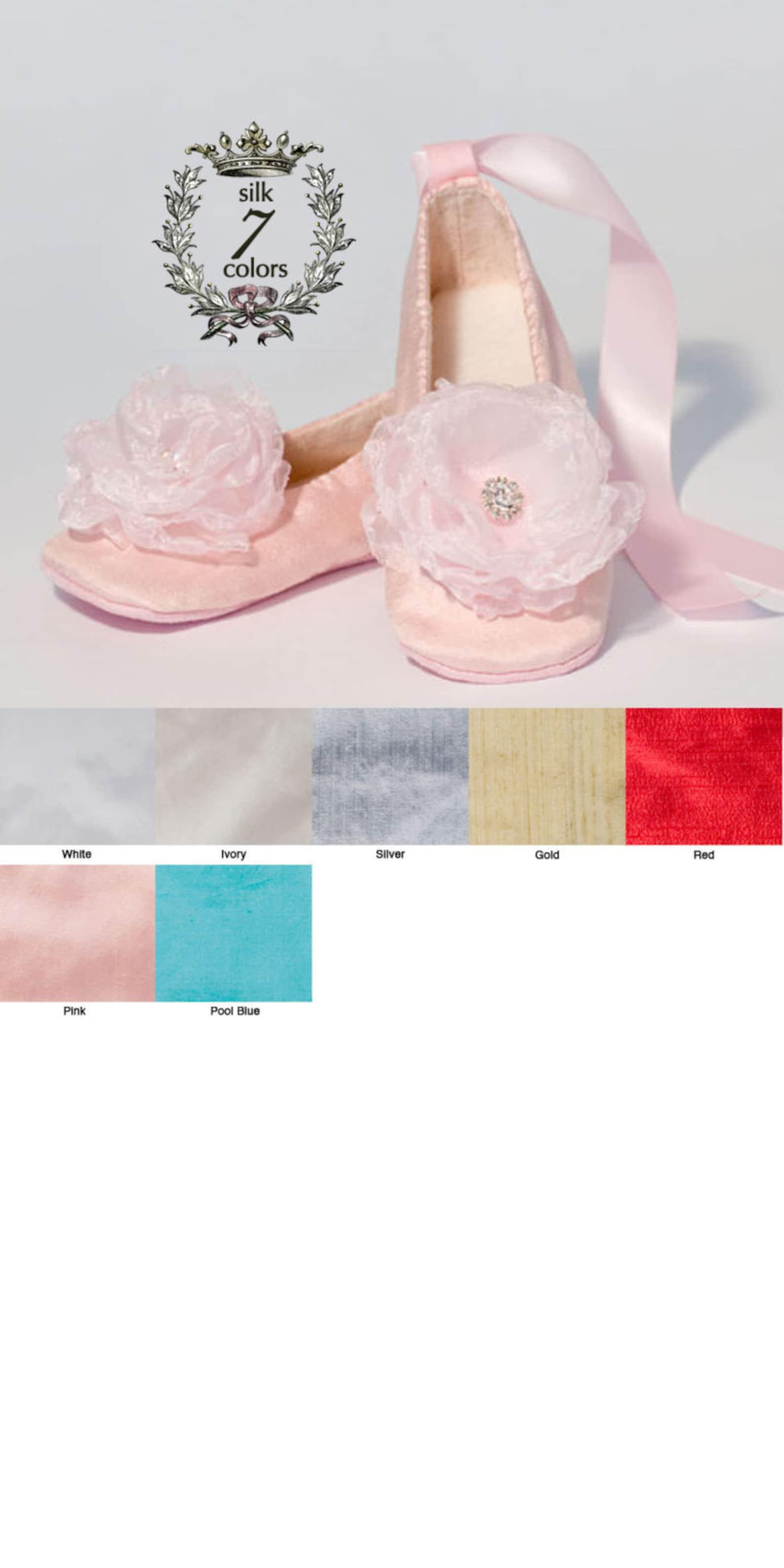 pink silk baby shoes, rose quartz toddler ballet slipper, little girl ballet flat, silk flower girl shoe, girls wedding shoe, ba