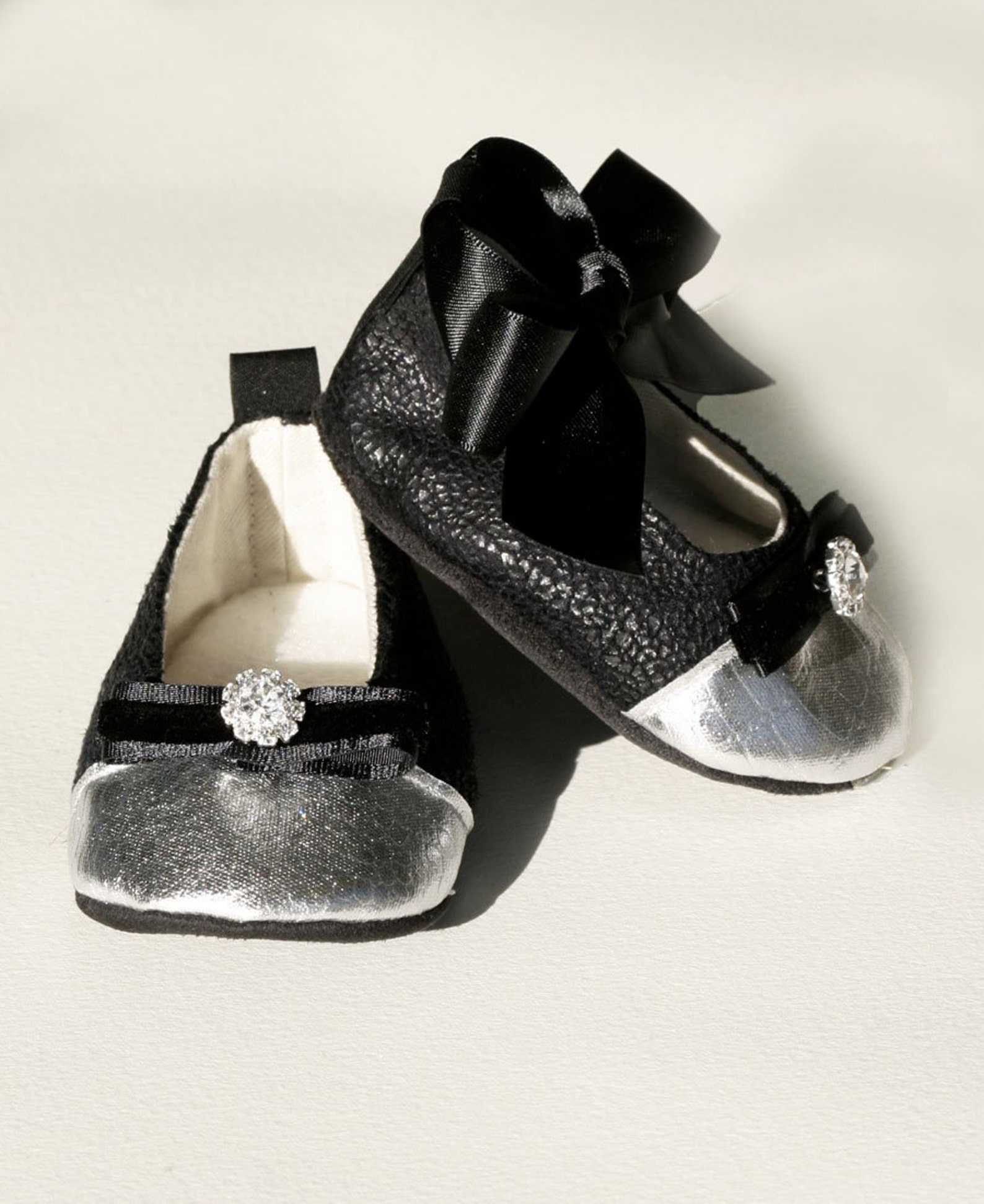 black toddler shoes, holiday ballet slippers, baby crib shoes, flower girl baby ballet slipper, special occasion shoe- baby soul