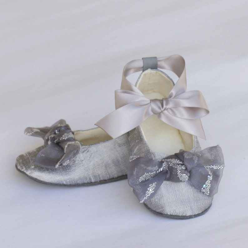 98e152949 Silver Silk Flower Girl Shoe Platinum Toddler Ballet Slipper