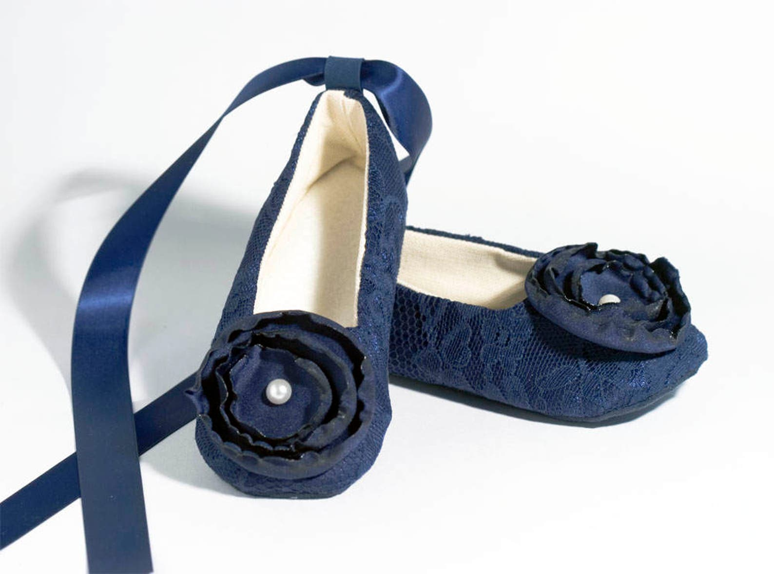 navy toddler shoe, easter, baby spring flower girl lace ballet slipper, little girl wedding shoe, girls ballet slipper, dance, b