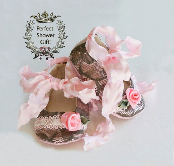 f7c6742a2 Lace Baby Bootie Pink Baby Crib Shoe Shower Gift Toddler