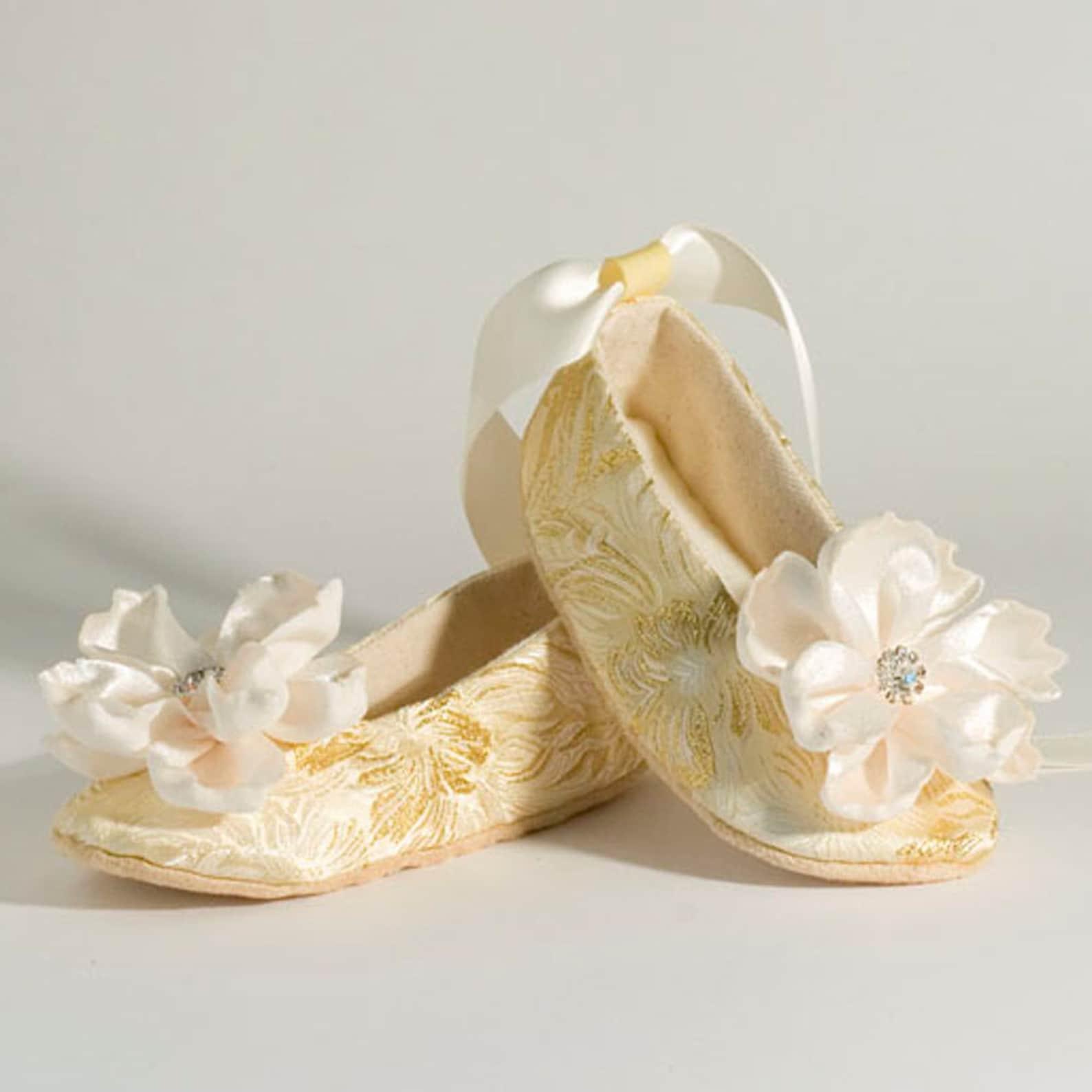silver baby ballet slipper, toddler flower girl shoe in gold, ivory, white, pink, christening, little girl wedding shoe, dance,