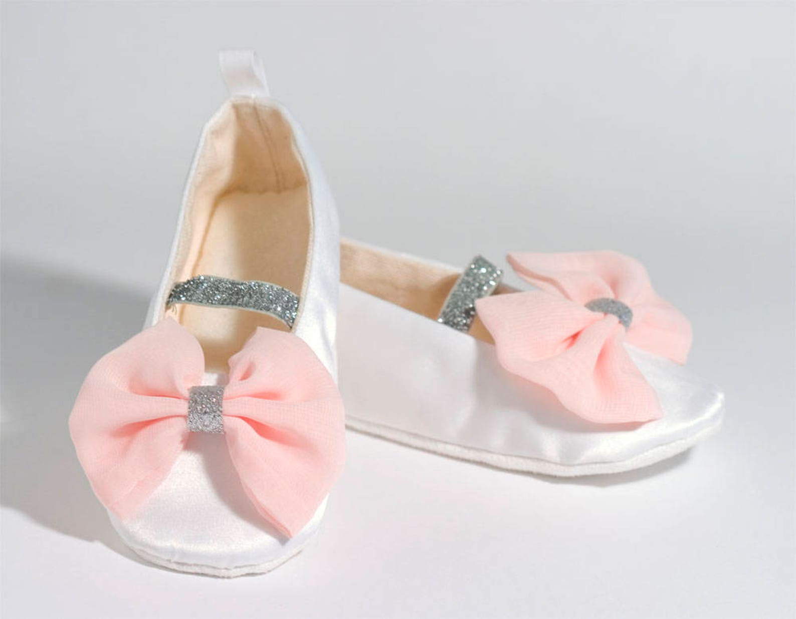 white & blush flower girl shoe, satin mary jane, baby ballet flat, toddler shoe, spring wedding ballet slipper, christening shoe