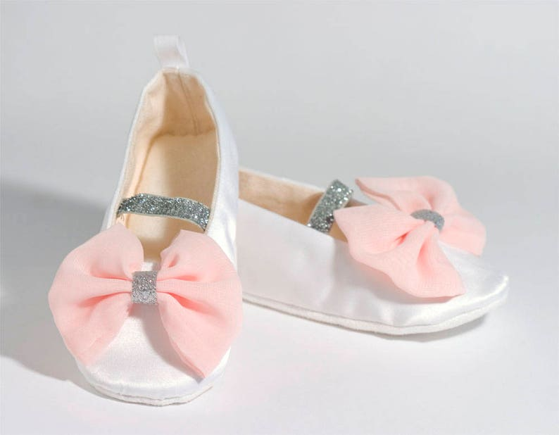 7dbcf79f7af White   Blush Flower Girl Shoe Satin Mary Jane Baby Ballet