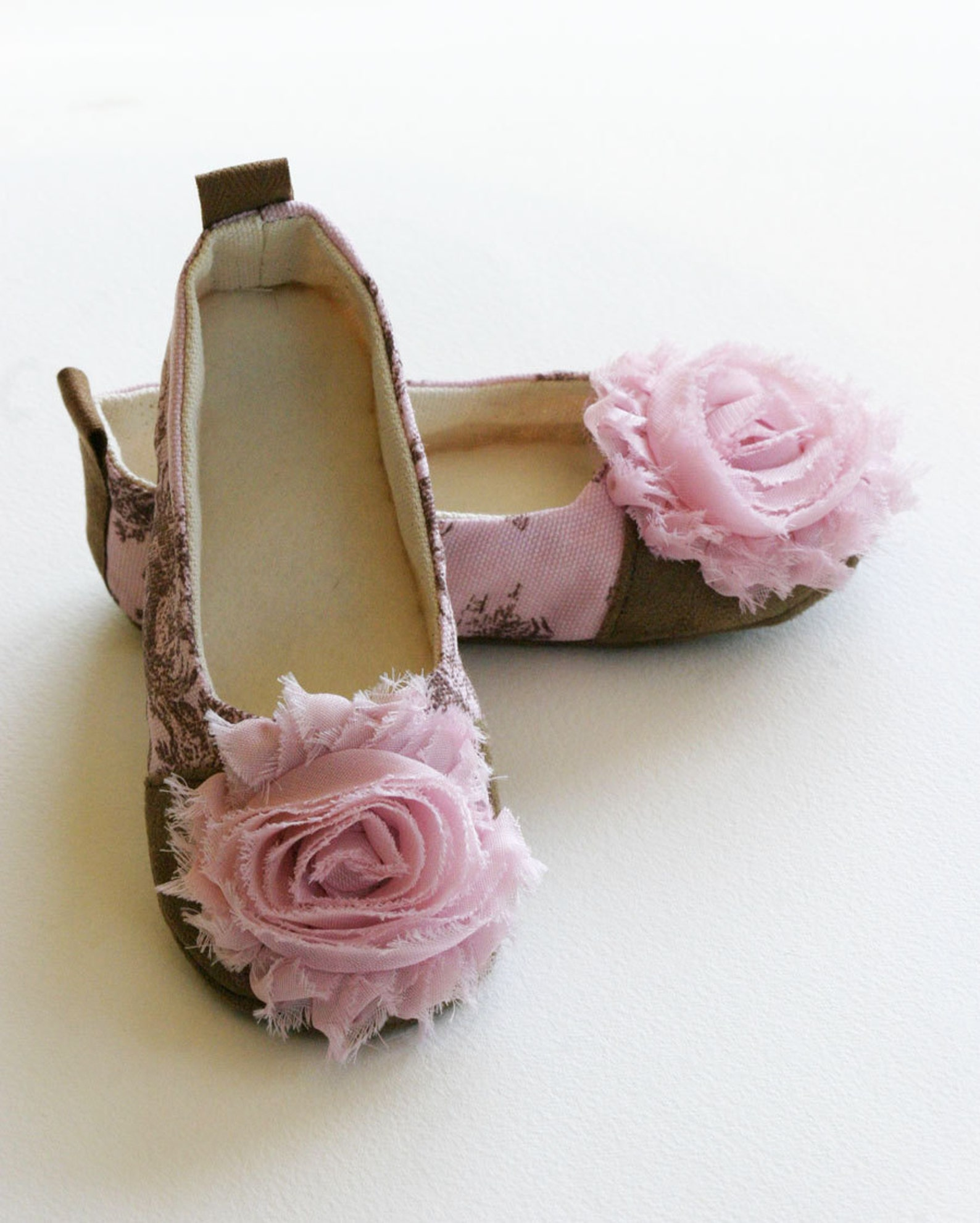 couture baby & toddler shoes, ballet flats, pink, green, blue toile, french style ballet shoes, wedding, dance, girls, baby soul