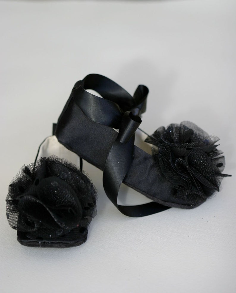 42054cf96 Black Satin Baby Shoes Flower Girl Toddler Ballet Slipper