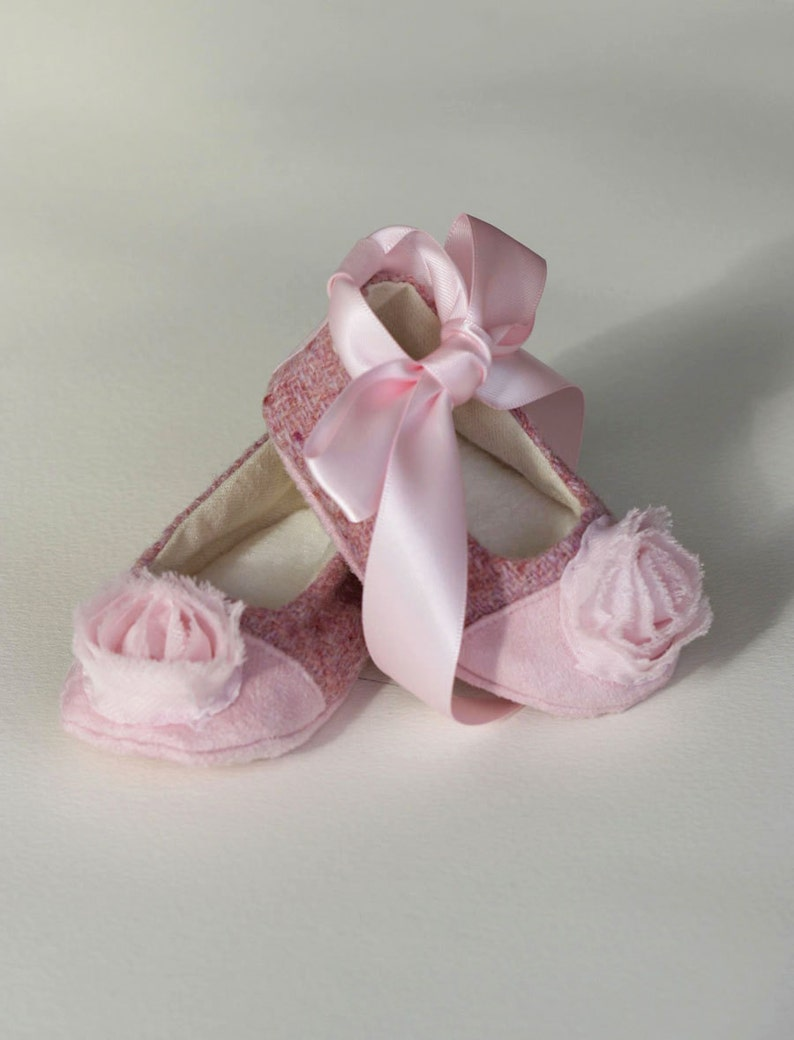 1facb8628 Baby Shoes Pink Tweed Couture Baby Ballet Slipper Toddler