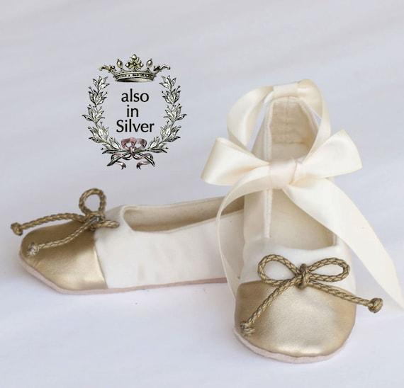 bcb8690ddda Gold and Ivory Satin Flower Girl Shoe Little Girl Ballet