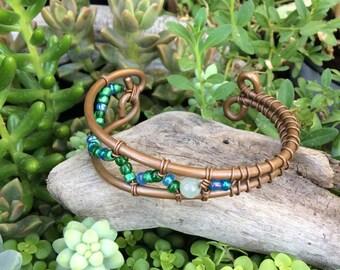 Green Jasper Bracelet-Cuff Bracelet-Copper Bracelet-Wire Wrapped Cuff Bracelet-Boho-Hippie-Gift Idea-Wire-Holistic-Adjustable-Pain Relief-