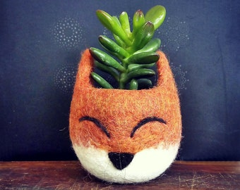 Fox planter | unique planter, office decor, Mini succulent pot, Animal planter, Gift for pet lover, Coworker gift for her, Birthday gift