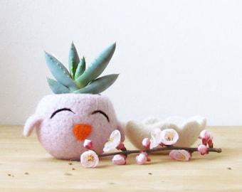 Mother day gift | Cute cactus vase, blush pink succulent planter, Happy Chick, Animal planter, Spring gift, Mini Plant Vase, teacher gift