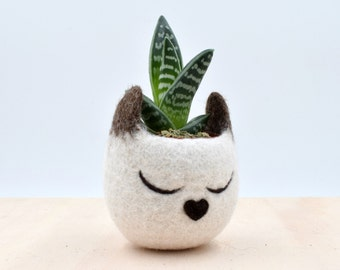 Siamese cat lovers gift for her, home decor, gift for pet lover, Mini succulent planter, Cat planter, Small pot, pet accessories
