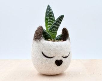 Cat lover gift for her, Pet gift, Succulent planter, Siamese cat mini planter, Cat planter, Small succulent pot, pet lover, cat lady