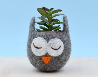 Owl Succulent planter   coworker gift, Owl lover gift for her, cactus pot, mini planter, unique mother day gift, cute vase, animal planter