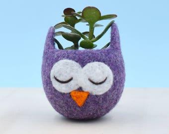 Owl lover / succulent planter / mini planter / birthday gift / cactus vase / plant pot / housewarming gift / cute cactus planter