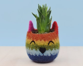 Rainbow Cat planter | Valentine gift, succulent planter, gay pride gift, LGBT gift, coworker gift, chakra colors, housewarming gift