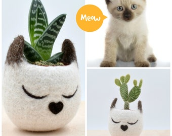 Cat lover gift for her, Succulent planter, Siamese cat