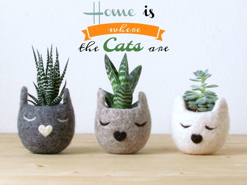 Cat lover gift for her  Mothers day gift for pet lover Sleepy cats 3 cats