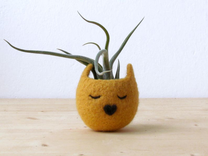 Choose your color! Small succulent pot  Mustard Yellow cat  Felt succulent planter  colleague gift  gift for her